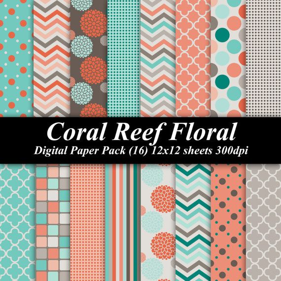 Hey, I found this really awesome Etsy listing at http://www.etsy.com/listing/157046796/coral-reef-floral-digital-paper-pack-16