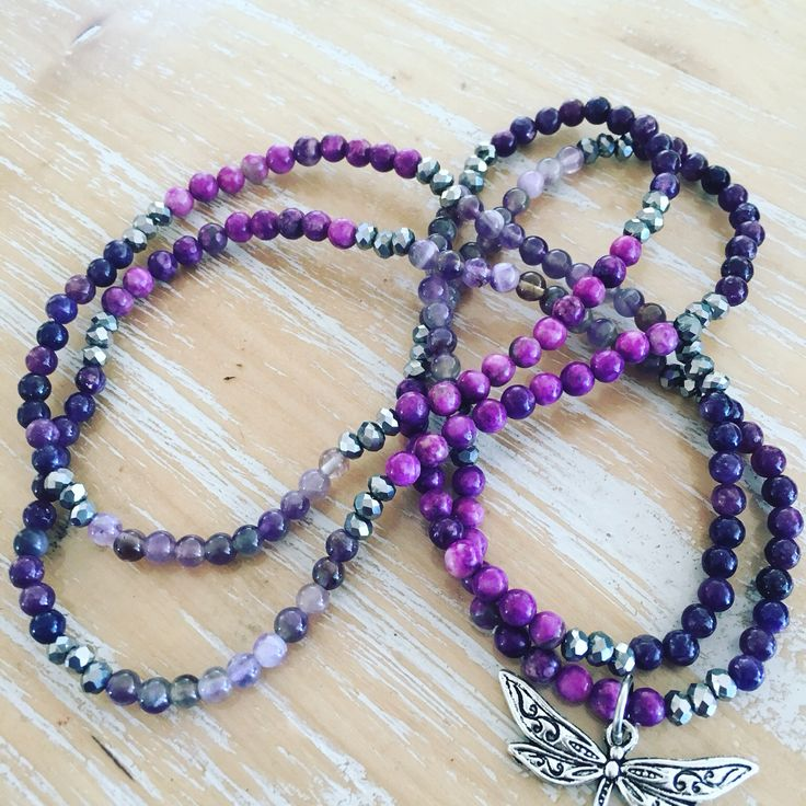 Gemstone necklace, 4mm beads with dragonfly charm (optional). Charoite, Amethyst and Lepidolite. www.enchanted-owl.com