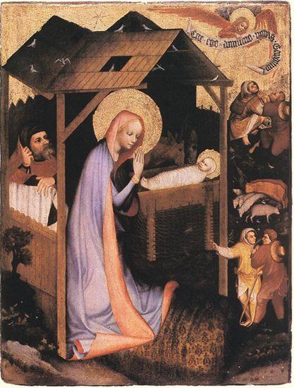 Master of the Trebon Altarpiece  Bohemian painter (active in 1380-1400)  The Adoration of Jesus  Before 1380  Alsova Jihoceska Galeria, Hluboka