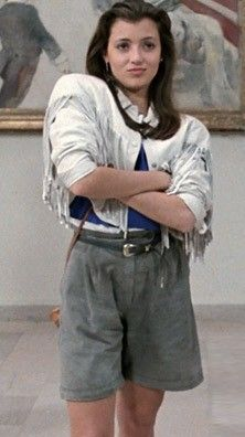 """Mia Sara as Sloane Peterson in """"Ferris Bueller's Day Off."""" That cropped fringe!"""