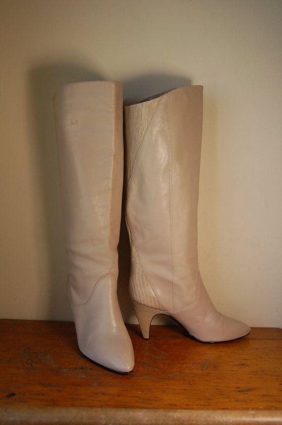 Taille 8 | Vintage neuf bottes talons de cuir Grey ouest