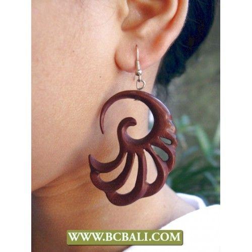 Bali Handmade Wooden Earring - handmade wooden earring, supplier jewellry wooden earring from bali indonesia, fashion wooden earring, woman accessories wooden earring from bali indonesia