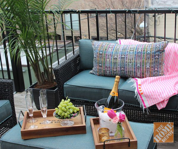 small apartment patio ideas | Although it was still freezing outside when we did this patio makeover ...