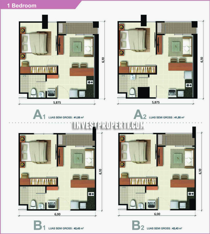 Apartemen Ara Complex 1 BR type.