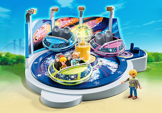 Spinning Spaceship Ride with Lights