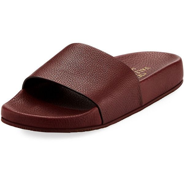 Valentino Men's Leather Slide Sandal ($402) ❤ liked on Polyvore featuring men's fashion, men's shoes, men's sandals, purple, mens leather shoes, mens sandals, mens shoes, mens leather sandals and valentino mens shoes