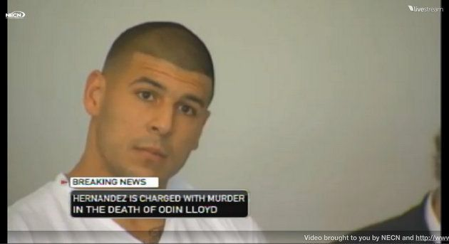 BREAKING NEWS: Aaron Hernandez charged with murder (NECN.com live video screen capture) #sports #football #news