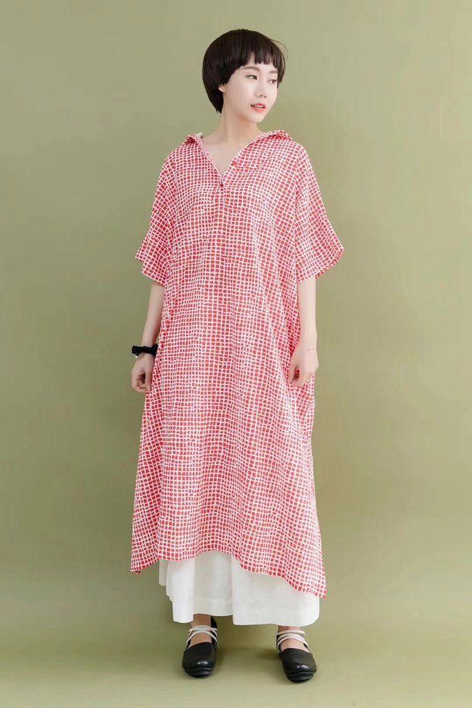 fe712fff6bf3 FantasyLinen Cute Plaid Stylish Women Red Casual Loose Fitting Long Dresses  7177