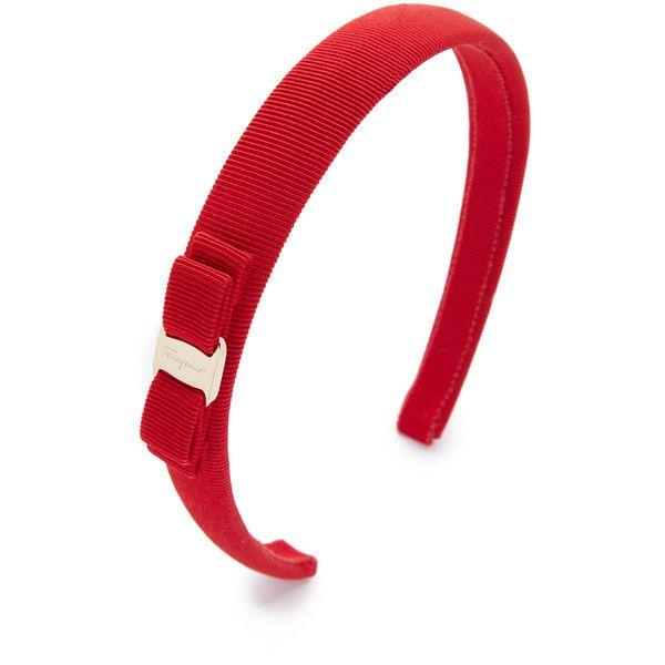 Salvatore Ferragamo Vara Bow Thin Headband ($160) ❤ liked on Polyvore featuring accessories, hair accessories, rosso, bow headwrap, hair band headband, head wrap headband, thin headbands and hair bow accessories