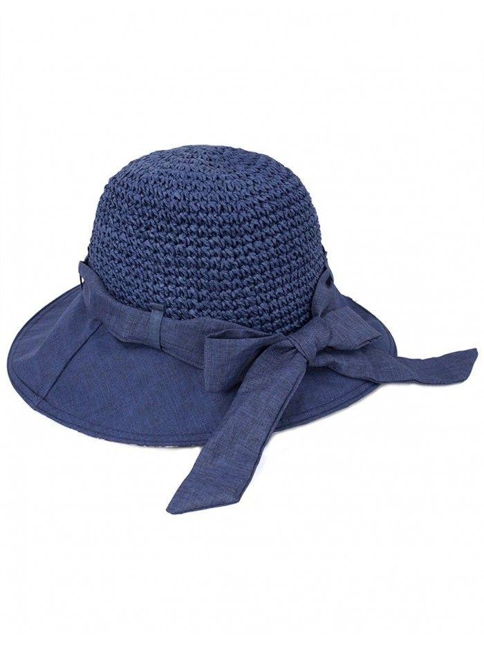 ec55c615977 Women s Summer Sun Hat - Stylish Crochet Wide Brim Straw Hat - Navy Blue -  CJ11ZR0WW29 - Hats   Caps