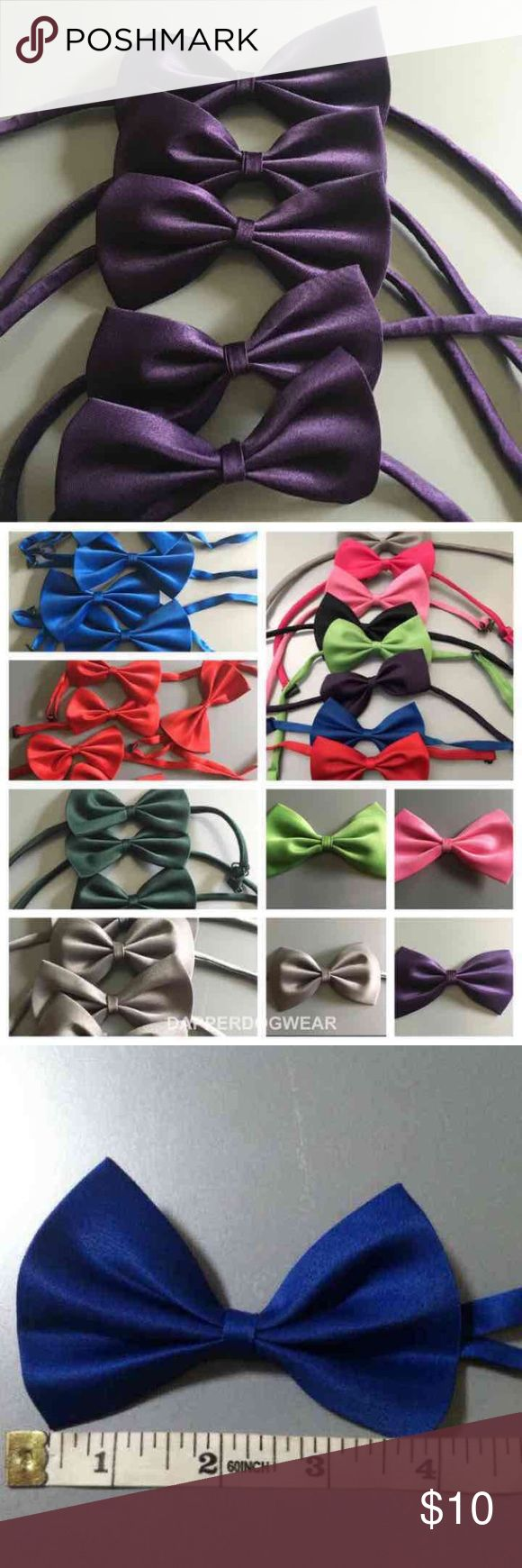 5 BABY TODDLER KIDS PETS BOW TIES Pick your colors :) SOLD OUT OF SILVER Cute little bow ties can be worn for any occasion. Formal/business casual, parties, raves, school, costumes, photo shoots or just spice up your outfit for every holiday! New Years, valentines, st. Patrick, thanks giving , Halloween, Christmas.  Silk/polyester Adjustable. Shortest length is about 7inches. Longest length about 14inches. Item does not have tags. Sealed in plastic, never worn, brand new. Please keep in mind…