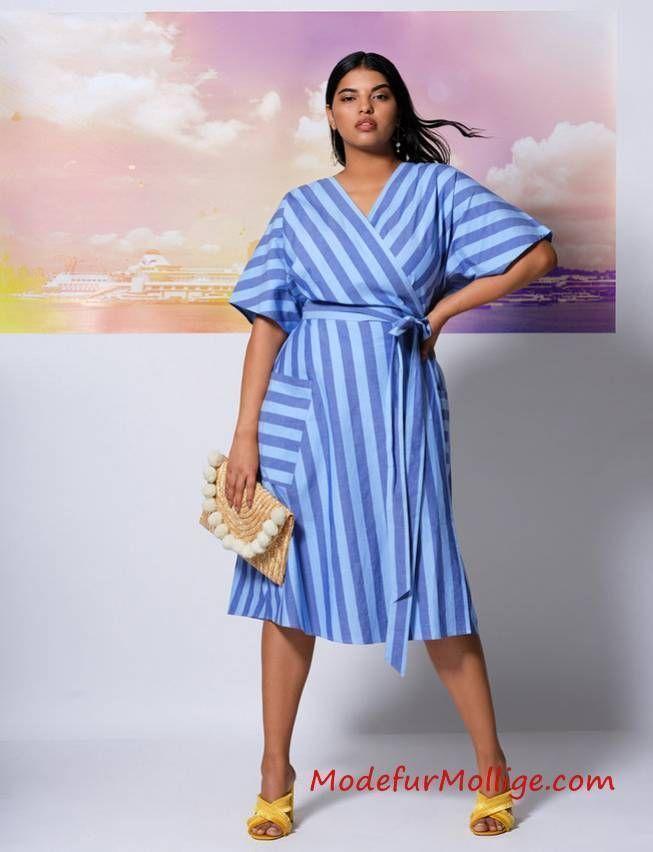 Große Größen Gestreiftes Blau Taillenkleid mit …