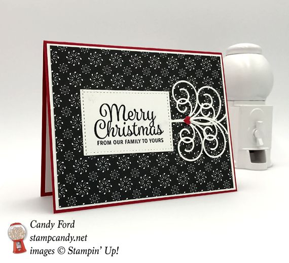 This adorable handmade Stampin' Up! cards is here to wish you a Merry Little Christmas from our family to yours. Classic red, white and black card.