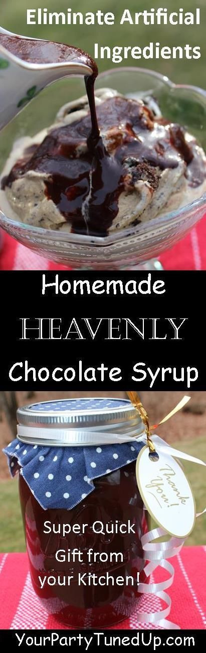 HOMEMADE HEAVENLY CHOCOLATE SYRUP.  The first ingredient listed on many store-bought syrups is High Fructose Corn Syrup.  This is SO easy to make with five basic ingredients:  cocoa, sugar, water, vanilla, salt.  Plus the taste is FAR better than anything store-bought!  Mix it in milk, drizzle on ice cream or sliced bananas -- yum!
