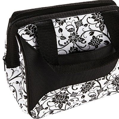 Fit & Fresh Downtown Insulated Lunch Bag with Reusable Ice Pack - Black Floral