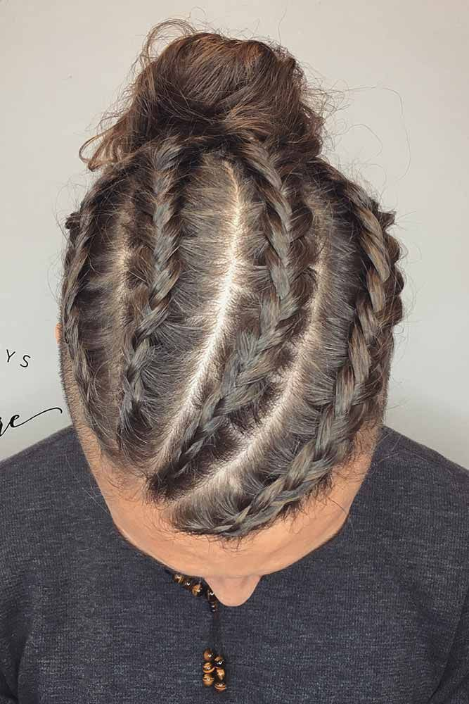 Dutch Braid With Man Bun Long Hair Styles Men Hairstyles For