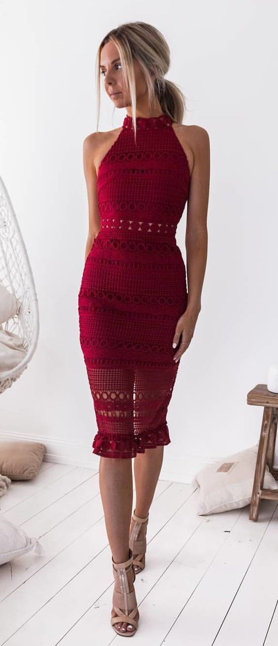 #winter #outfits red halter-neck bodycon midi dress