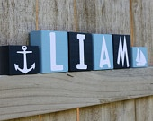 Reserved for B - PERSONALIZED LETTER BLOCKS - Custom Nautical Boy Room - Nursery Decor - Baby Shower Sailboat Anchor Ship Blue Red Name Sign. $40.00, via Etsy.