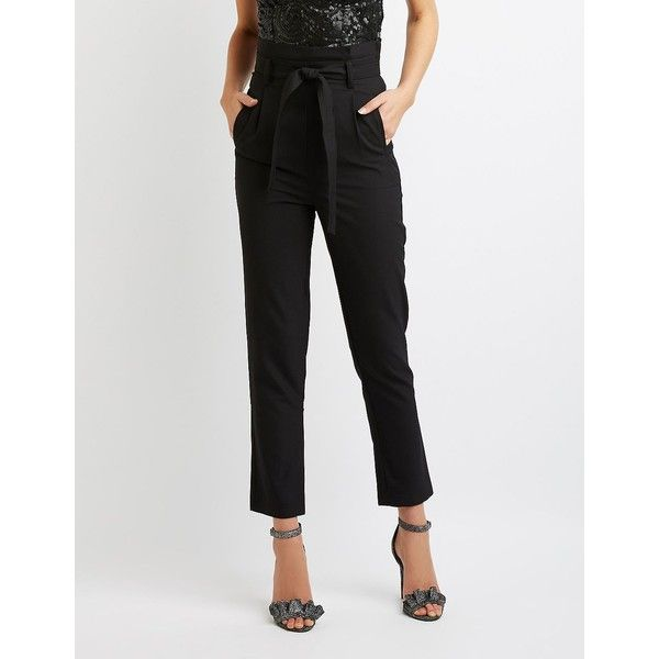 Charlotte Russe Belted Skinny Trousers ($27) ❤ liked on Polyvore featuring pants, capris, black, skinny trousers, skinny leg pants, stretch pants, slim leg pants and woven pants