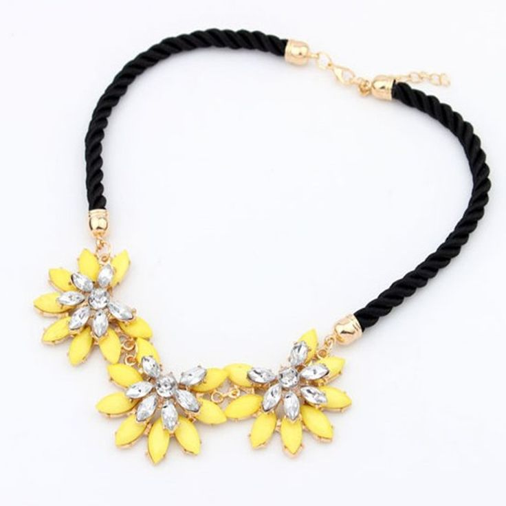 2015 Flower Choker Necklace Crystal Pink ColorfuL Chain Statement Necklaces&Pendant For Women Fashion Jewelry ROHT-134