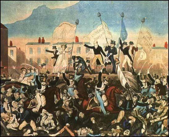 Print of the Peterloo Massacre published by Richard Carlile