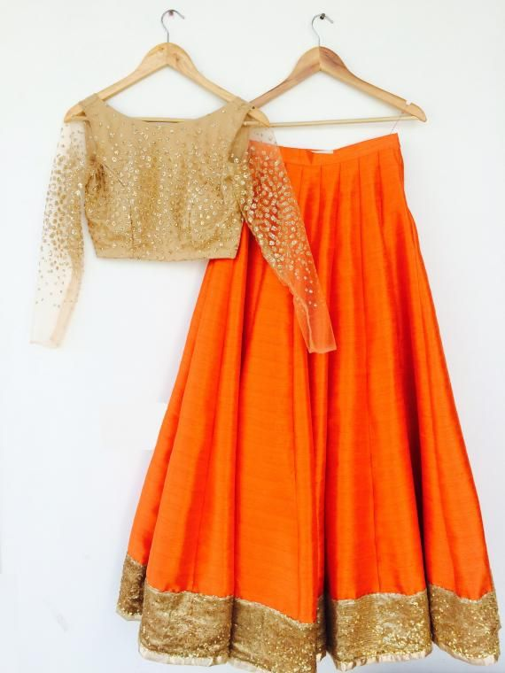 Bright Orange #Lehenga w/ #Choli in Gold by http://www.iinara.com/ Sector 40 #Gurgaon | Wedmegood