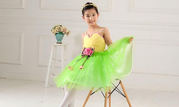 Ребенок строп производительность одежда ручной работы блестки бисером желтый зеленый люди танец балет протектор юбка небольшой господь держать платья - TaoDV.ru