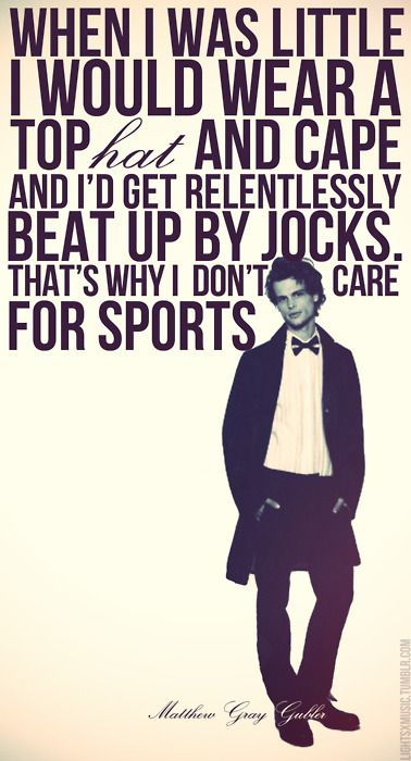 Matthew Gray Gubler on sports...see video where he chucks a football at Shemar Moore and runs away....