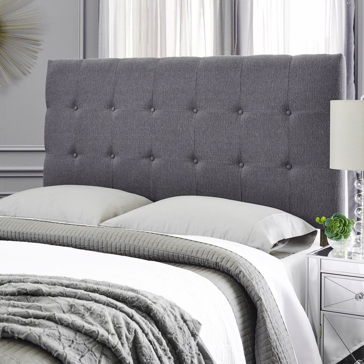 Humble + Haute Stanford Textured Charcoal Grey Upholstered Headboard (Queen)