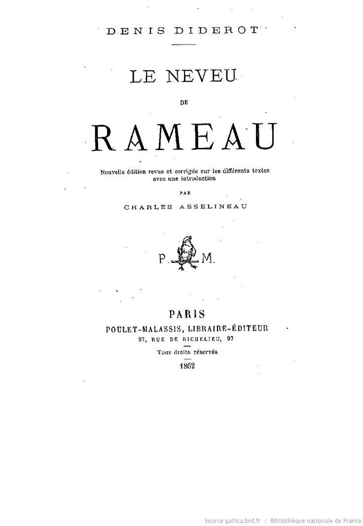 Le neveu de Rameau / Denis Diderot ; nouvelle édition... par Charles Asselineau