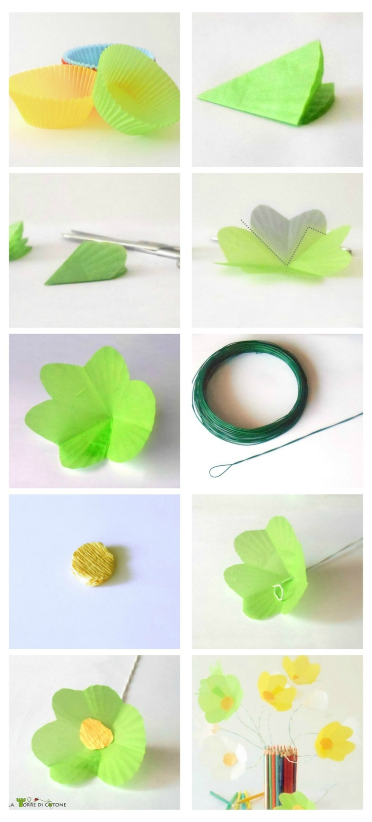 Come fare un bouquet di fiori di carta riciclando le formine per muffin. Tutorial