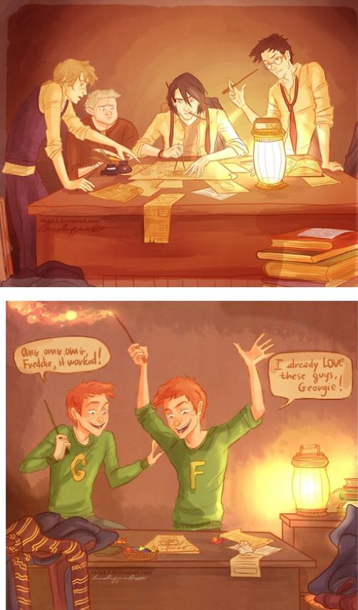 i-wakeupstrange: nathanielemmett: Some FREAKING AWESOME Harry Potter fan art of the marauders creating the map and Fred and George later discovering it. #i just want everyone to remember #that out of these six people #only one is alive