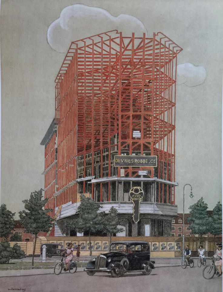 Apollolaan met Rijksverzekeringsbank in aanbouw by Wim Wouters, 1938. Stadsarchief Amsterdam