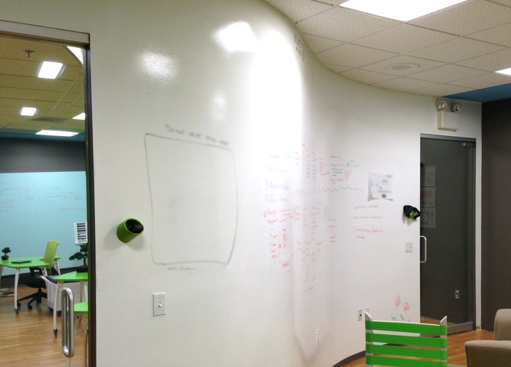 curved whiteboard wall