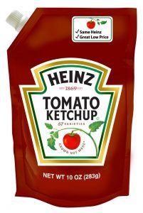 Tomato ketchup pouch or Spouted pouch by Heinz #Spoutedpouch #Spoutpouch #Spoutbag #Spoutedbag #Standuppouch #FlexiblePackaging