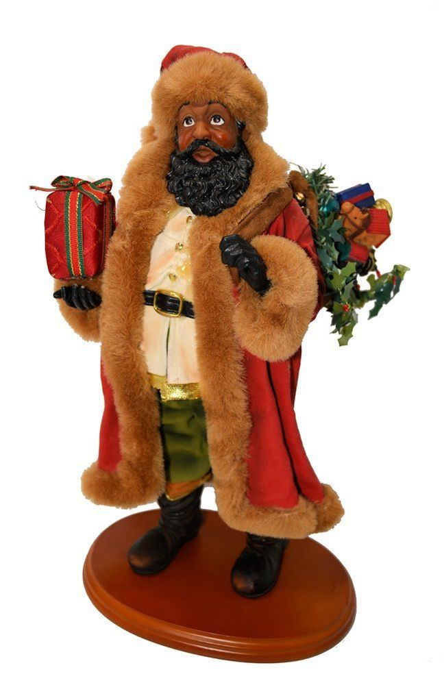 Black santa claus figurine on wood stand quot tall