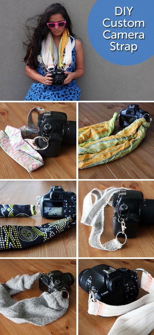DIY Custom Camera Strap. Each strap took 5 minutes and cost less than 5 bucks! http://www.hellobrit.com/living/diy-chic-custom-camera-strap/