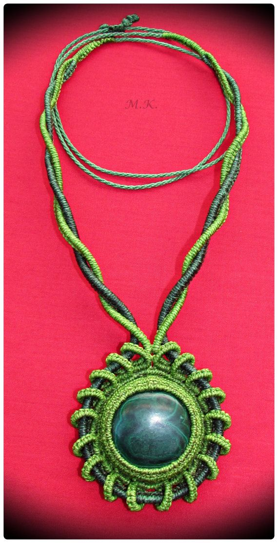 Adjustable Macrame Necklace with Malachite semi-precious stone and bronze beads.