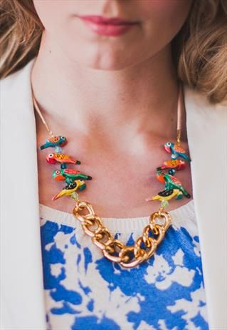 The Parrots.Hand painted parrot bead, chunky chain necklace from Shh by Sadie on ASOS Marketplace. Shhbysadie.com Tropical jewellery, handmade jewellery, holiday necklace. Aztec necklace.