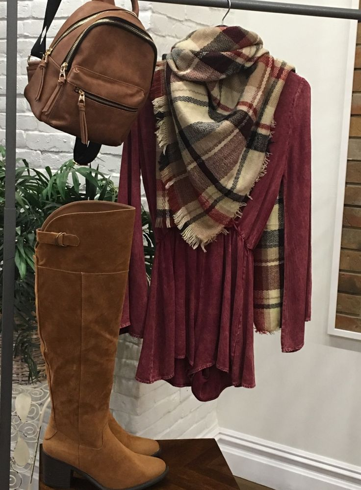 Fall is here! Boots. Scarves. Backpacks. Yayyyy  $68 Boots. $50 Romper. $74 Backpack. $28 Scarf.