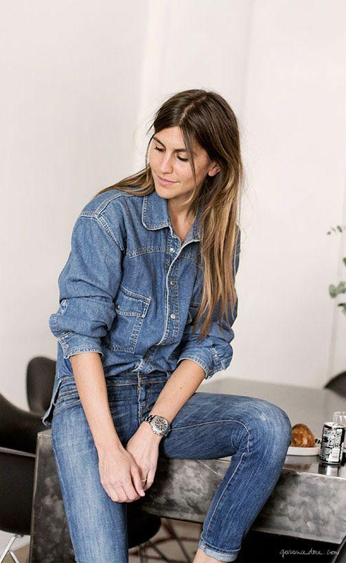 Morgane Bedel, style story, Paris, denim shirt and jeans, vintage / Garance Doré