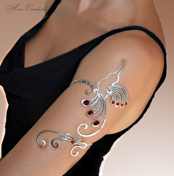 brassard au bras supérieur, bijoux oiseaux, bijoux de mariage, bijoux en cuivre, colibri, oiseau bracelet, brassard, brassard argent, bijoux en argent  Dans le kit, vous pouvez acheter collier https://www.etsy.com/ru/listing/235738632/necklace-colobri-hummingbird-jewelry  Acheter le kit https://www.etsy.com/listing/251211535/anklet-anklet-bangle-body-jewelry-foot?ref=shop_home_active_1 de la cheville  D'autres bras poignets https:&#x...