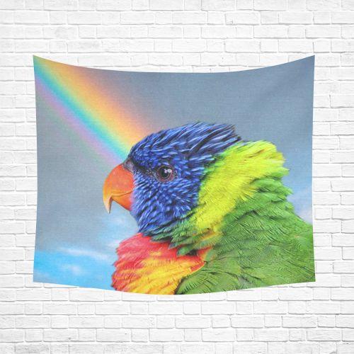 """Rainbow Lorikeet Cotton Linen Wall Tapestry 60""""x 51"""""""