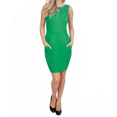 Wolf & Whistle Green fitted dress with big pockets- at Debenhams.com