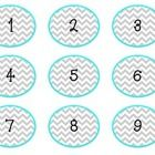Chevron number labels! Numbers 1-36.  Need different colors? Different numbers? Just message me : )  Credit to Hello Fonts by Jan Jones...