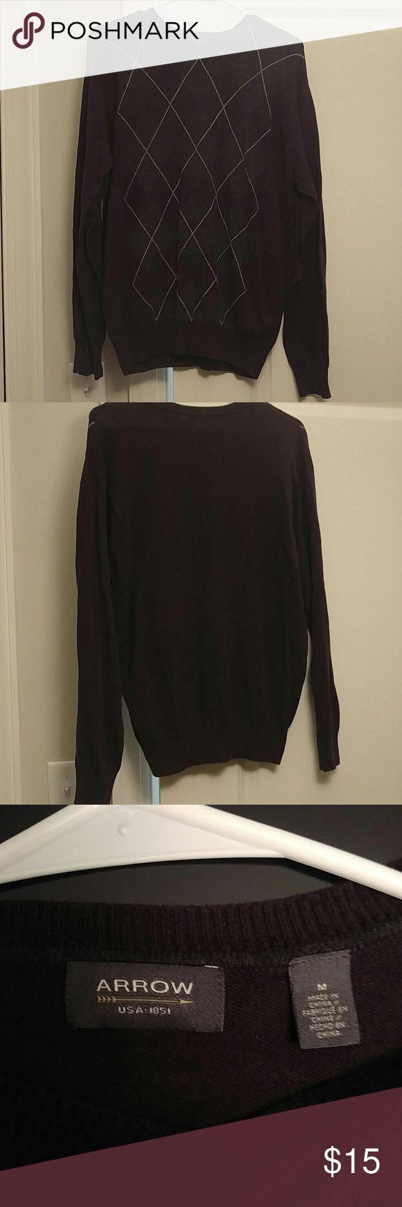 Men's sweater Men's sweater, purple with grey Argyll pattern on front Arrow Sweaters Crewneck