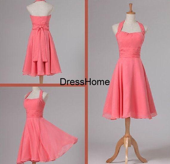 Bridesmaid Dress  Coral Bridesmaid Dress / Halter by DressHome, $99.99