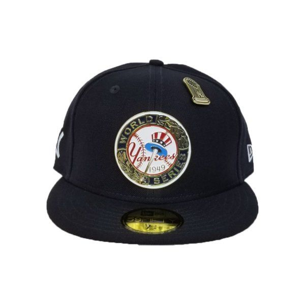 2a5d0f0b3e980 New Era Navy Blue New York Yankees 1949 World Series Metal Badge 9Fifty Fitted  Hat