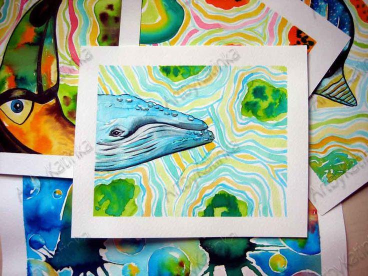 Whale painting,Original Watercolor Painting,Animal Art,Children room art,Handmade painting,Birhday gift,Wall Art,Home Decor,Painting gift by ARTbyKatinka on Etsy