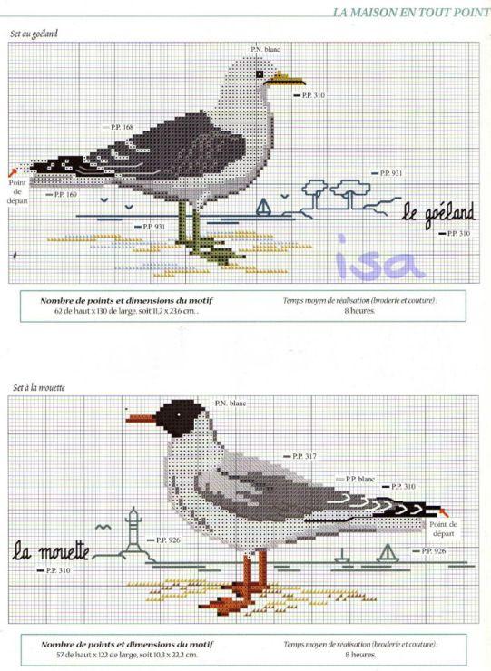 Oiseaux de mer 2 broderie couture pinterest oiseaux croix et point de croix - Grille point de croix mer ...